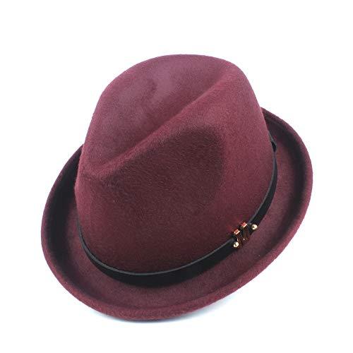 CHENDX Sombrero elegante y sencillo para hombre y mujer, de fieltro, para otoño, invierno, elegante, lana de poliéster, con cinturón de letra M (color rojo vino, tamaño: 58 cm)