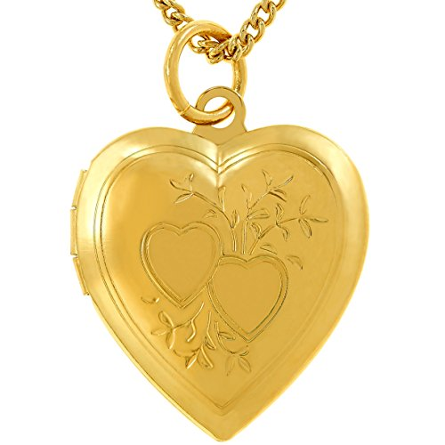 Lifetime Jewelry Photo Locket for Women and Girls [ Two Hearts ] - 20X More Real 24k Gold Plating Than Other Heart Locket Necklaces That Hold Pictures (Yellow Gold Pendant with 18' Chain)