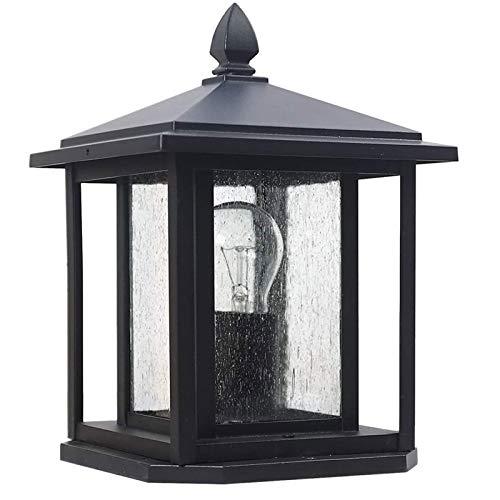 Columna cuadrada al aire libre impermeable de la linterna de la decoración del jardín pilar poste Lights Pared linterna, con vidrio transparente IP54 for exterior yarda del jardín de la cubierta de la