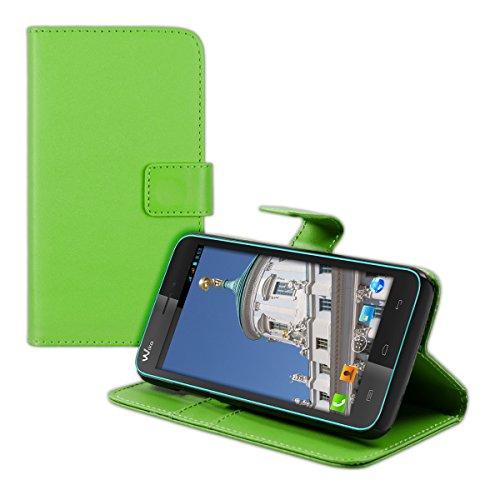 kwmobile Wallet Hülle kompatibel mit Wiko Lenny - Hülle Kunstleder mit Kartenfächern Stand in Grün