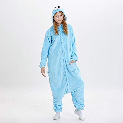 FZH Pijama Cookie Monster Elmo Kigurumis Onesie Anime Sesame ST Personaje Pijama Azul Rojo Ropa de Dormir Divertida Mujer Adulta Pareja Traje de Fiesta-Azul_Metro