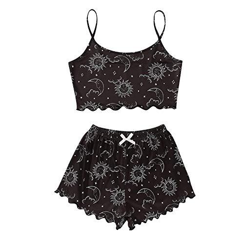 Pijama corto para mujer, conjunto de pijama de verano, ropa de dormir sin mangas, camisón de dos piezas, camisón y pantalones cortos