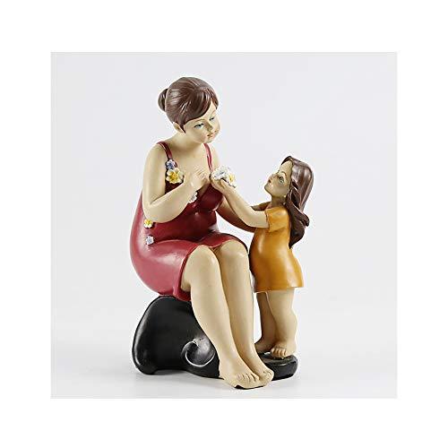Happy Home Products Serie Amor De Madre A Hijo Y Figura, Tipo Escultura Estatua Madre, Regalo del Día De La Madre, Figura De Resina Pequeños Adornos De Decoración del Hogar,Latón