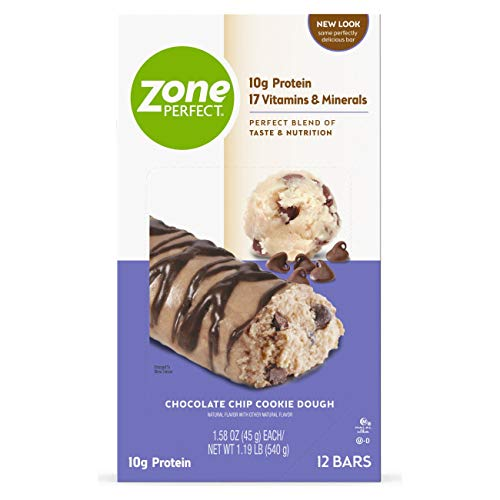 ZonePerfect Protein Bars, Chocolate Chip Cookie Dough, 10g of Protein, Nutrition Bars With Vitamins & Minerals, Great Taste Guaranteed, 36 Bars