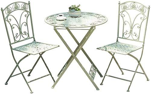 Conjunto De Mesa Y Sillas De Jardín - Conjunto De Bistró De Metal A Prueba De Intemperie - Balcón Plegable 1 Table Y 2 Sillas - A Prueba De Herrumbre (Color : Verde)