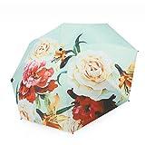 Paraguas plegable con patrón de tinta rosa antiguo, tela de ataque al tacto, 8 varillas de fibra resistente al viento, suministros escolares para una a dos personas Verde verde