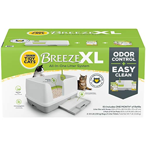 Purina Tidy Cats Non Clumping Litter System, Breeze XL All-in-One Odor Control & Easy Clean Multi Cat Box