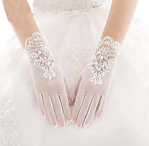 Belle dentelle femmes gants de mariage gants de mariée