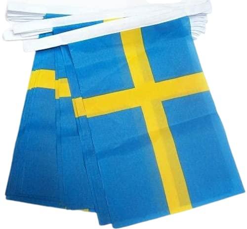 AZ FLAG FAHNENKETTE SCHWEDEN 6 Meter mit 20 flaggen 21x14cm - SCHWEDISCHE Girlande Flaggenkette 14 x 21 cm