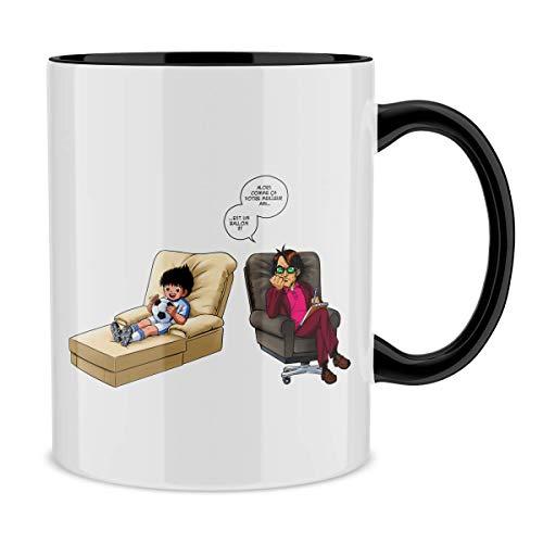 Mug avec Anse et intérieur de Couleur (Noir) - Parodie Olive et Tom - Captain Tsubasa - Olivier Atone - Son Meilleur ami.!? (Mug de qualité supérieure - imprimé en France)