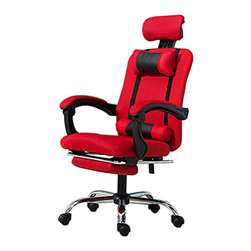 QJN Office Chair Computer Chair Executive Office Chair Computer Office Chair Game Chair,Backrest Gaming Chair Home Ergonomic Mesh Chair Swivel Chair Steel Foot red