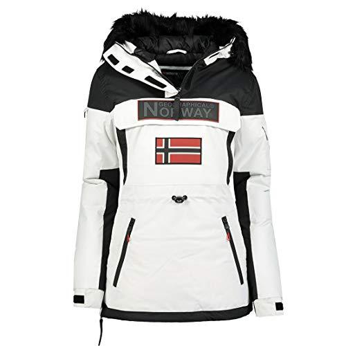 Geographical Norway - Parka para mujer con capucha Bruna Lady, blanco, XL