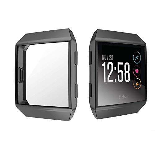 Jvchengxi für Fitbit Ionic Bildschirmschutz Hülle, TPU Schutzfolie Allro&-Schutzhülle High Definition Clear Superdünne Schutzhülle für Fitbit Ionic Smart Fitness Watch (Schwarz)