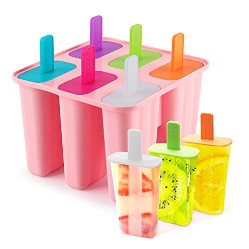 DeHub Stampi per Ghiaccioli in Silicone 6 Fori Stampi Ghiaccioli Certificato FDA BPA Gratuiti Uso Alimentare Stampi Gelato(Rosa, 1 piezas)