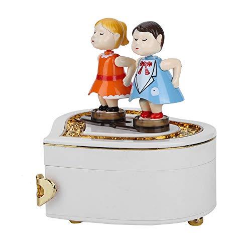 Qinlorgo Adorno de plástico Ideal para el hogar de Regalo, Encantadora Caja Musical, para la decoración del hogar de Navidad, Regalo de cumpleaños, decoración de Mesa(YL2034 White)