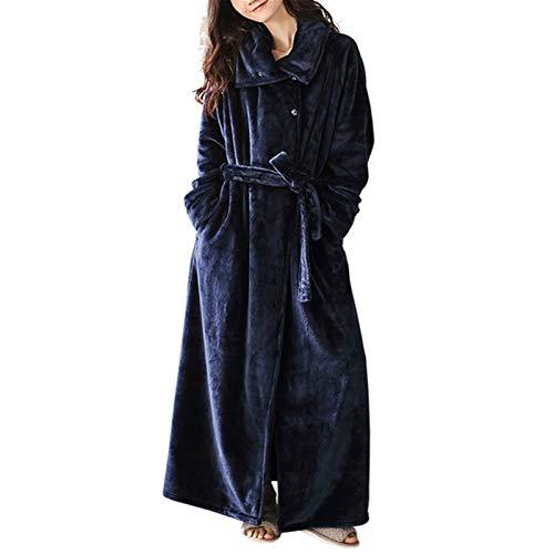 LIUXING-Home Camisón de franela para mujer, otoño e invierno, para mujer, calidez, espeso, alargado, otoño e invierno, albornoz (color: azul, tamaño: M)