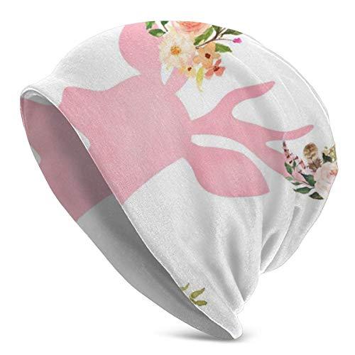 Pink Deer Animal Beanie Men Women Unisex Soft Cuffed Plain Skull Knit Hat Cap Daily Knit Beanie
