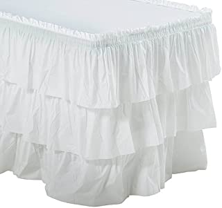 White 3 Tier Ruffled Table Skirt Party Supplies Decorations