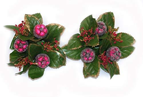 Topdekoshop 2 x Kerzenringe Kränze Früchte gezuckert rot Frostdesign 12 cm tolle Tischdeko Weihnachtsdeko 5682