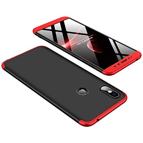 DESCHE compatibles con funda Xiaomi Redmi S2 Rojo Negro, PC duro Cubierta protectora Ultrafino Anti-rasguños Parachoque Mate Phone Case - Rojo Negro