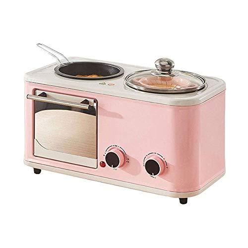 YWAWJ Brotbackautomat, Multi-Funktions-Frühstück Maschine Removable - DREI in einem Fried Roasting Startseite Frühstück Brot Muffins Backöfen Retro Toaster
