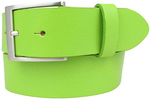 Jeansgürtel aus Vollrindleder 4 cm   Jeans-Gürtel für Damen Herren 40mm   Leder-Gürtel   Hellgrün 100cm