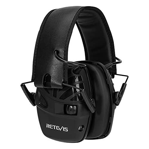 Retevis Electronico Protectores Auditivos SNR 28dB Protector Auditivo Auriculares Plegables Audio AUX Micrófono de Doble Casco Tiro Electronico con Almohadillas Extraíbles para Disparos Caza etc