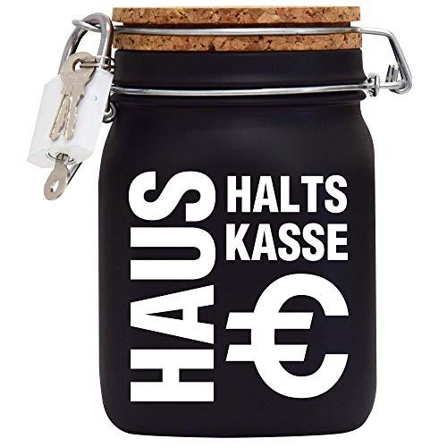 Haushalts-Kasse XXL-Spardose mit Vorhängeschloss in Weiss/Geld-Geschenk Idee XXL Sparbüchse Glas Geldgeschenk mit Korkdeckel und Sparschlitz Middle