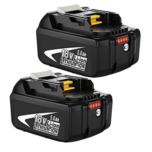 Venghts 2 Piezas 18V 5000mAh batería de Repuesto para Makita 18V BL1850B BL1860 BL1850 BL1840 BL1830 BL1820 BL1020B BL1815 LXT400