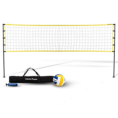 Forever Champ Volleyball Net System - Includes 32x3 Feet Regulation Size Net, 8.5-Inch PU Volleyball, Carrying Bag, Boundary Lines, Steel Poles & Pump - Height Adjustable for Men, Women & Co-Ed Games