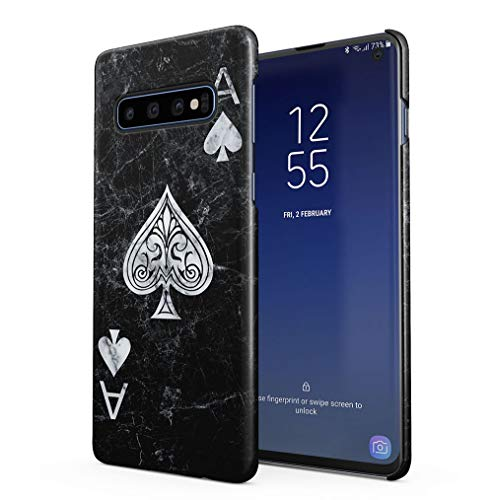 Maceste Ace of Spades Black Marble Compatible with Samsung Galaxy S10 SnapOn Hard Plastic Phone Protective Case Cover