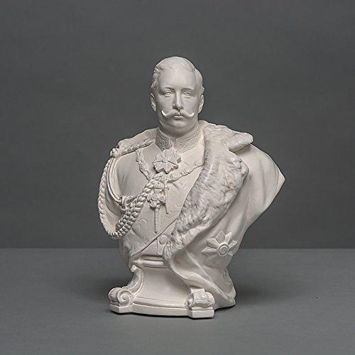 Kaiser Wilhelm II Skulptur aus hochwertigem Zellan, echte Handarbeit Made in Germany, Büste in weiß, 22cm