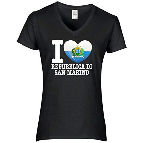 FanShirts4u Damen T-Shirt - I Love REPUBBLICA DI SAN Marino - WM EM Trikot Liebe Herz Heart (S, REPUBBLICA DI SAN Marino/schwarz)