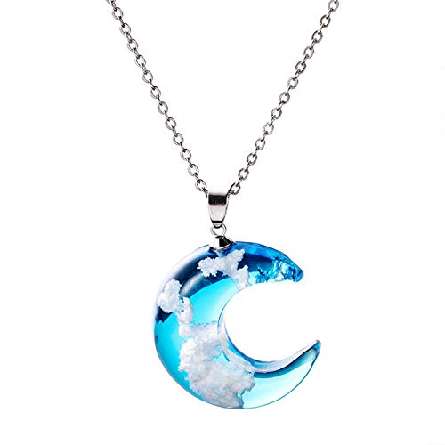 KDYSMWD Blue Sky and White Cloud Chain Pendant Necklace Transparent Jewelry | Pendant Necklace