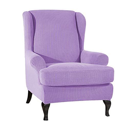 VanderHOME Stretch Sofabezug Ohrensessel husse ohrensessel bezug 1 Sitzer Stretch und antirutsch Sesselhusse Stretch sesselhussen Sessel bezug husse für ohrensessel lila