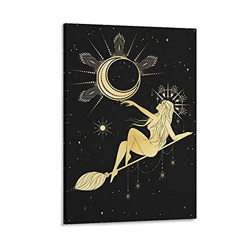 """Póster vintage con texto en inglés """"What Kind of Witchcraft Do You Specialize In_ Moon Witch Home Canvas Painting Wall Art Decor Poster 40 x 60 cm"""