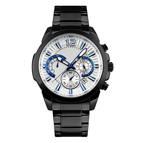 QHG Deportes multifuncionales Seis Manos Manos Reloj de Tiempo Impermeable Moda Luminosa Reloj Simple de los Hombres, Reloj de Hombre Ajustable de Acero Inoxidable (Color : A)