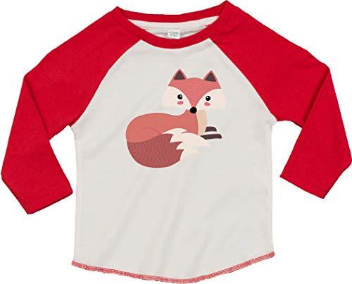 Kleckerliese T-shirt à manches longues pour enfant Motif animaux renard - Rouge - 18-24 mois