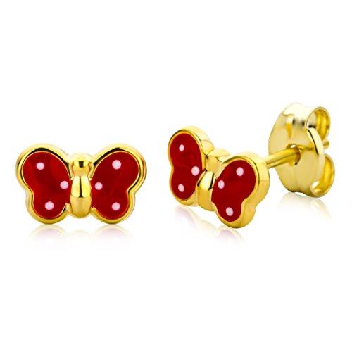 Miore Ohrringe Kinder Mädchen Gelbgold 9 Karat / 375 Gold Ohrstecker mit Schmetterling