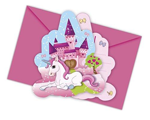 Procos 85675 kleines Einhorn gestanzte Einladungskarten mit Umschlag