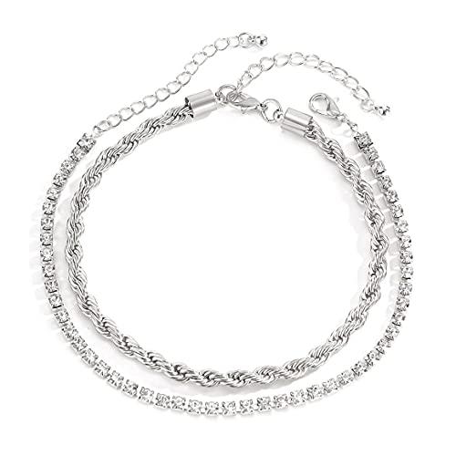 Traje de cadena de diamantes de imitación de ratán simple Tobillera Joyería femenina Regalos de vacaciones románticos Accesorios elegantes - Oro blanco