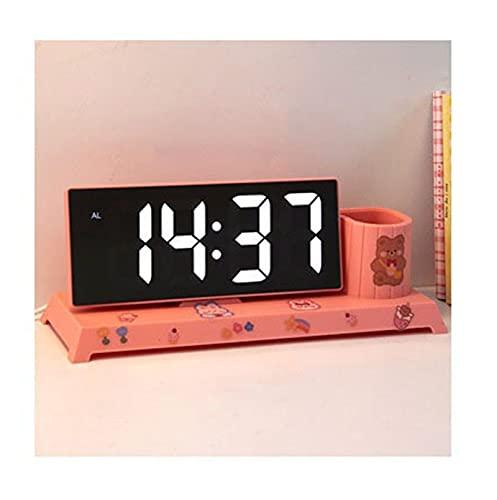 GDYJP Titular de la Pluma DIRIGIÓ Reloj Snooze Alarma Estudiante Despertar Despertar Despertador for niños Chica Escritorio Organizador Reloj Digital cloc (Color : A, Tamaño : One Size)