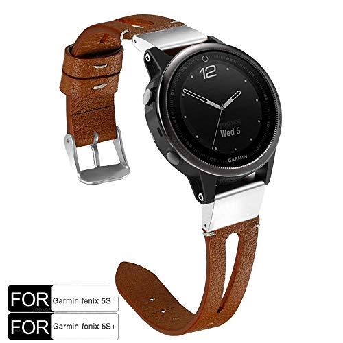 YOOSIDE Fenix 5S/5S Plus Armband, Echtleder+Edelstahl QuickFit Armband Ersatzarmband Uhrenarmband für Garmin Fenix 5S/Fenix 5S Plus Smartwatch,Braun