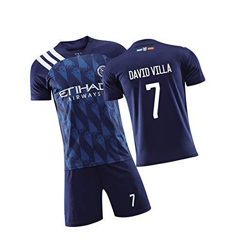 WYUN David Villa 7# Herren Fußball Trikot, Fußball Fußball Mesh Trikots für Männer Frauen Jugend und Kinder, Mesh Design Schweißstoff 2-teilig -Tank Top und Shorts-22(130cm)