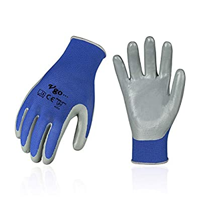 Vgo 10-Pairs Nitrile Coating Gardening and Work Gloves (Size M, Blue, NT2110)