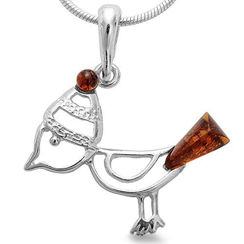 Anhänger Bernstein, lustiger Spatz Meise Vogel mit Mütze 925 Silber, Kettenanhänger #1649