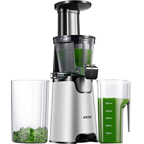 Aicok Juicer Auger Slow Masticating Juicer for Smooth and High Nutrition Juicer,Vertical Faster Masticating Juicer Includes - Making Juice,Jam and Sorbet,Quiet Juicer Extractor,Silver