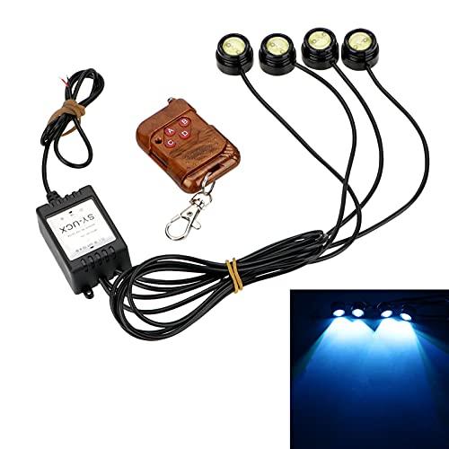 Luces led 4 en 1 LED 12V Control remoto inalámbrico Eagle Eagle Luz Emergencia Advertencia Strobe Flash Light Car Luz de funcionamiento para la habitación (Emitting Color : Ice blue)
