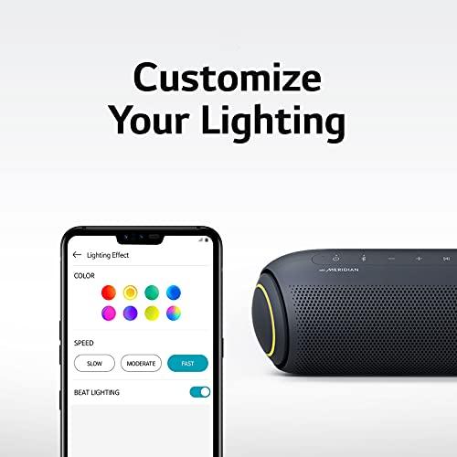 LG XBOOM Go PL5 Tragbarer kabelloser Bluetooth-Lautsprecher mit bis zu 18 Stunden Akkulaufzeit, IPX5 wasserfest, Party-Bluetooth-Lautsprecher, Schwarz