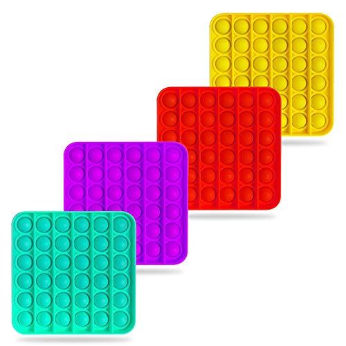 4PCS New Upgrade Push pop Bubble Fidget Sensory Toy,Autism Special Needs Stress Reliever Silicone Stress Reliever Toy Squeeze Sensory Toy